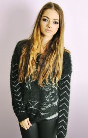 Tiger Face Jumper With Zig Zag Back